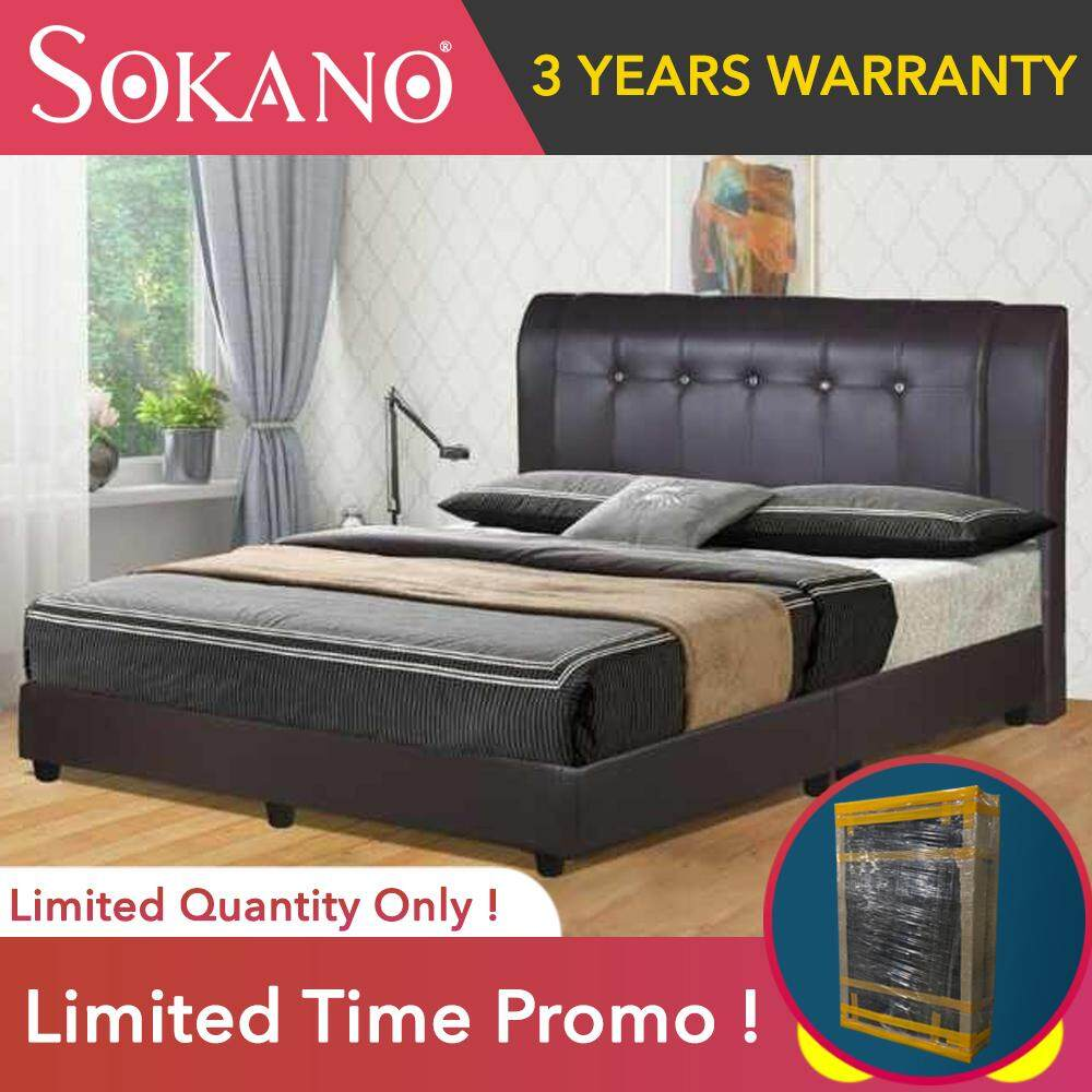 SOKANO Divan With PU Leather Headboard Bed Frame / Katil Furniture Bedroom Furniture Modern Perabot Bilik Tidur Queen Size (Mattress not included) Well Wrapped with Proper Packaging