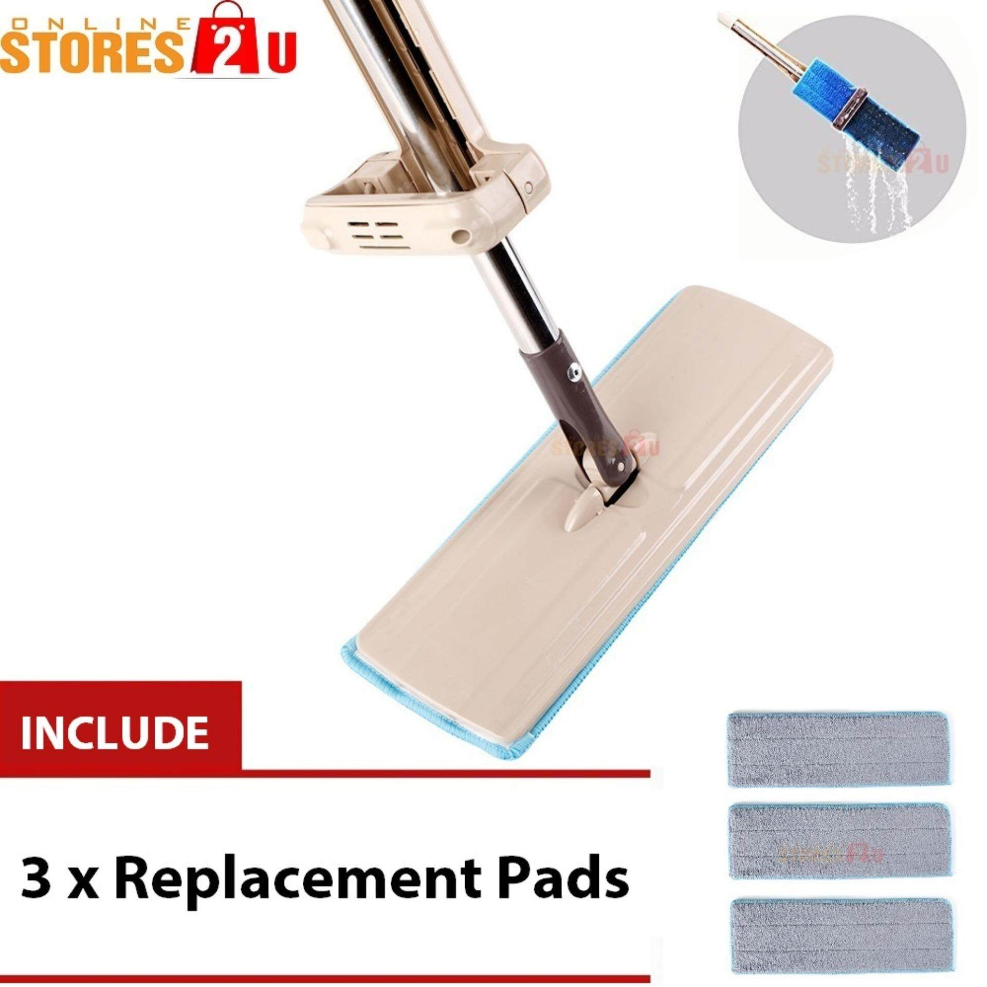 [Stores2u] Microfiber Flat Lazy Mop Hands Free Wash 360 Spin Floor Mop Include 3 Replacement Pads (35cm)