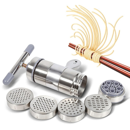 Stainless Steel Handheld Manual Noodles Maker With 5 Different Noodle Moulds