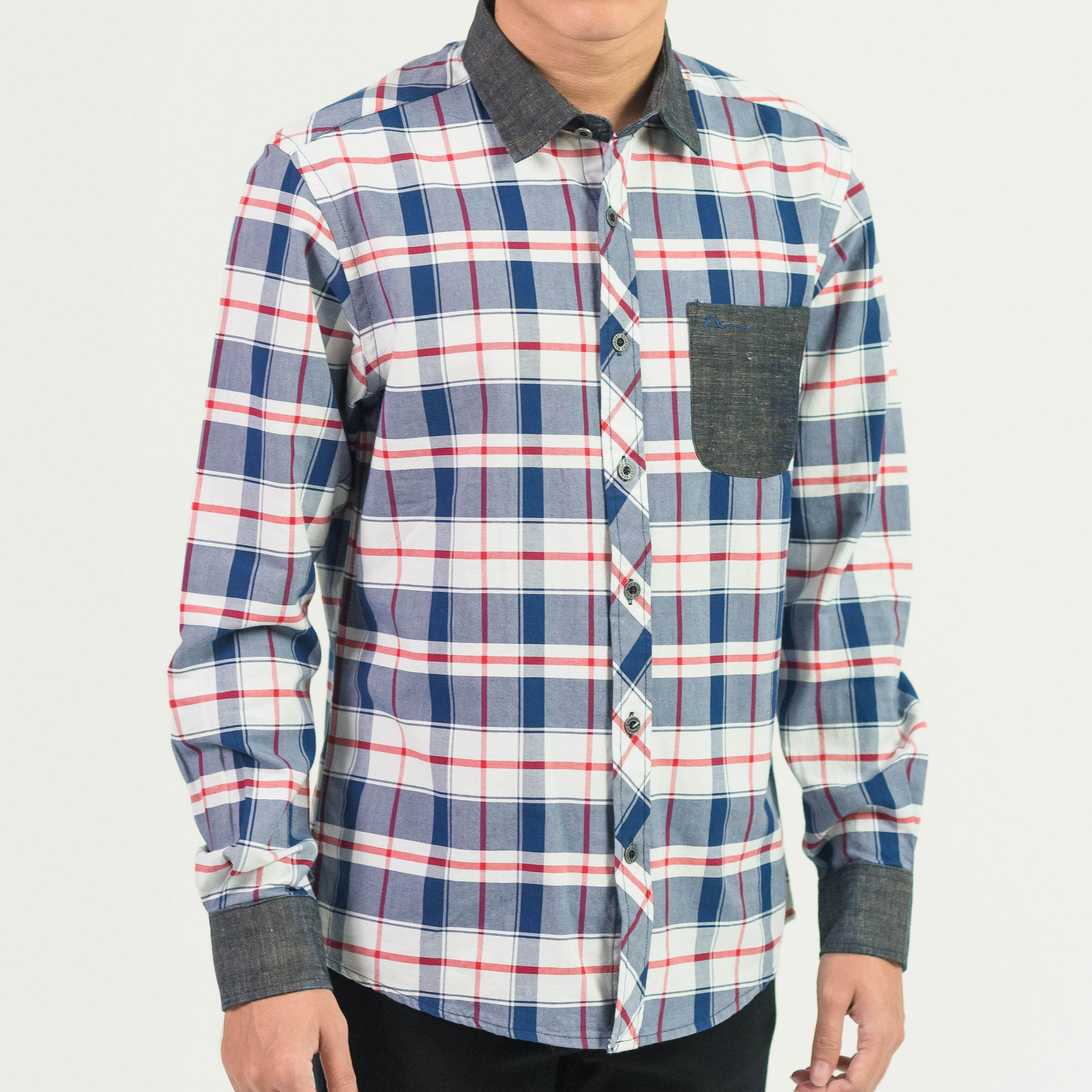 MEN'S SHORT SLEEVE CHECKED SHIRT WITH POCKET B79-40389#4