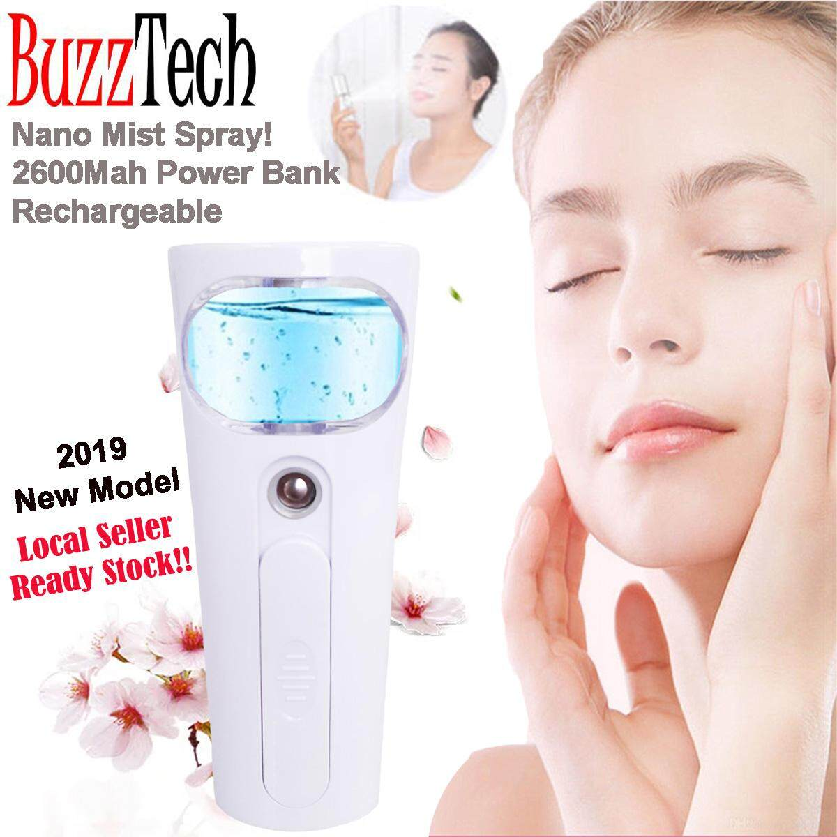 BuzzTech PowerBank Nano Water Mist Spray Facial Steamer Spray USB Rechargeable