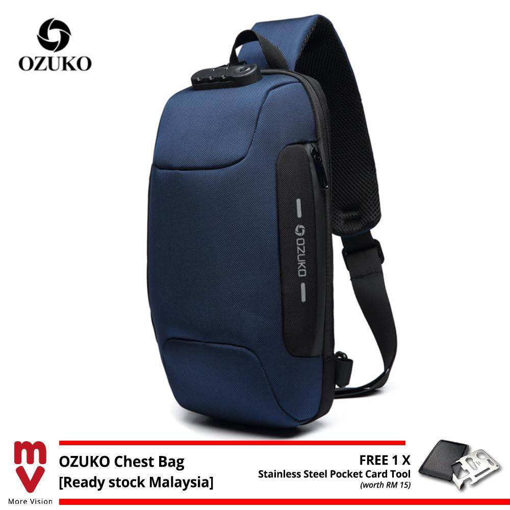 OZUKO Sling Bag USB Anti-Theft Men's Chest Beg with Password Lock New Casual Crossbody Shoulder Waterproof Oxford Cloth MI4993
