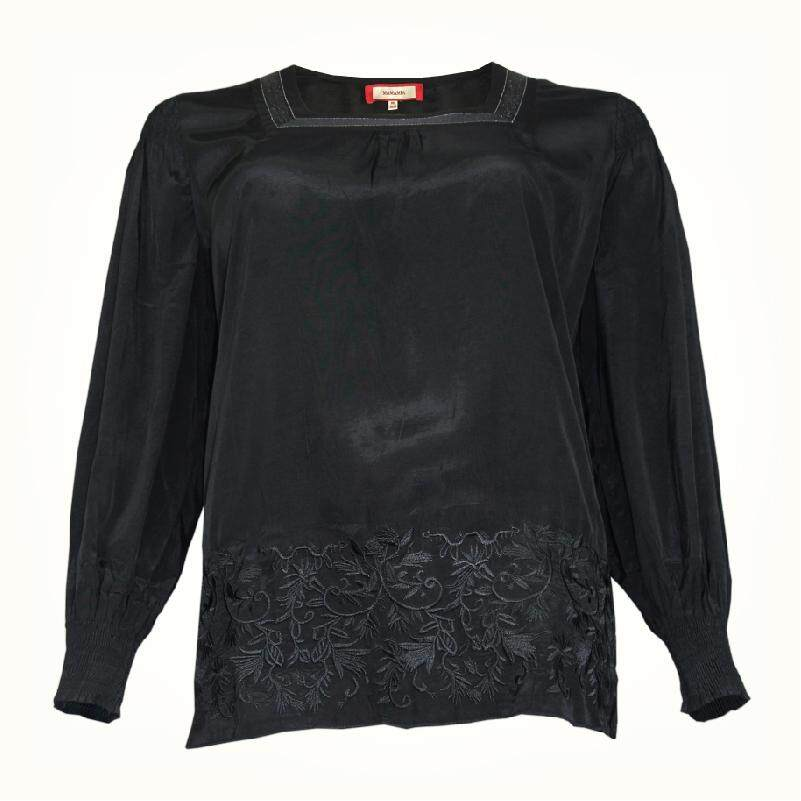 MAMAMIA PLUS SIZE LADY'S BLOUSE WITH EMB C025 MMP9036 (PROMOTION BLACK)