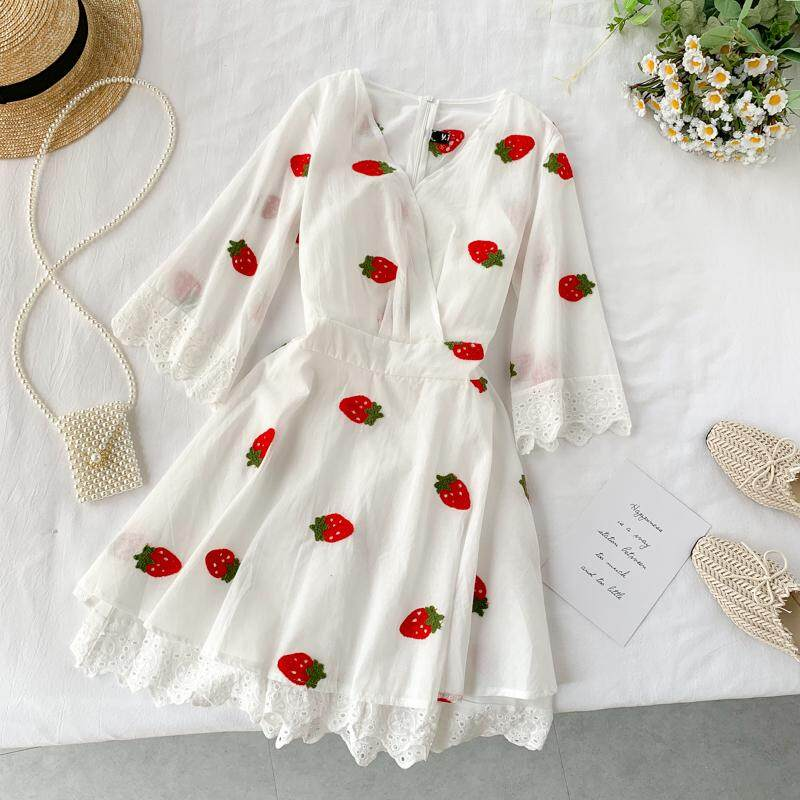 ?PRE-ORDER 21 DAYS?Chic strawberry embroidered dress