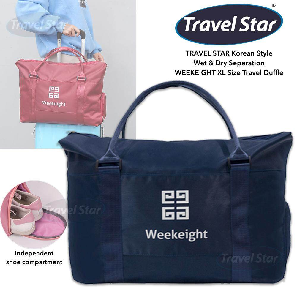 TRAVEL STAR Korean Style WEEKEIGHT XL Size Travel Duffle Gym Duffle with Wet and Dry Compartment and Shoe Compartment Travel Bag Gym Bag