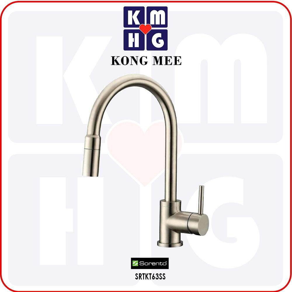 Sorento Italy - Sola Series Stainless Steel 304 Kitchen Mixer Pull Out Tap (Hot And Cold Sink Faucet) (SRTKT63SS) Pillar Mounted Stretch Out Spring Basin Kitchen Counter Restaurant Home Kitchen Wash Dishes Water Soap Cleaning Plumbing Pipe Eat Cook Food