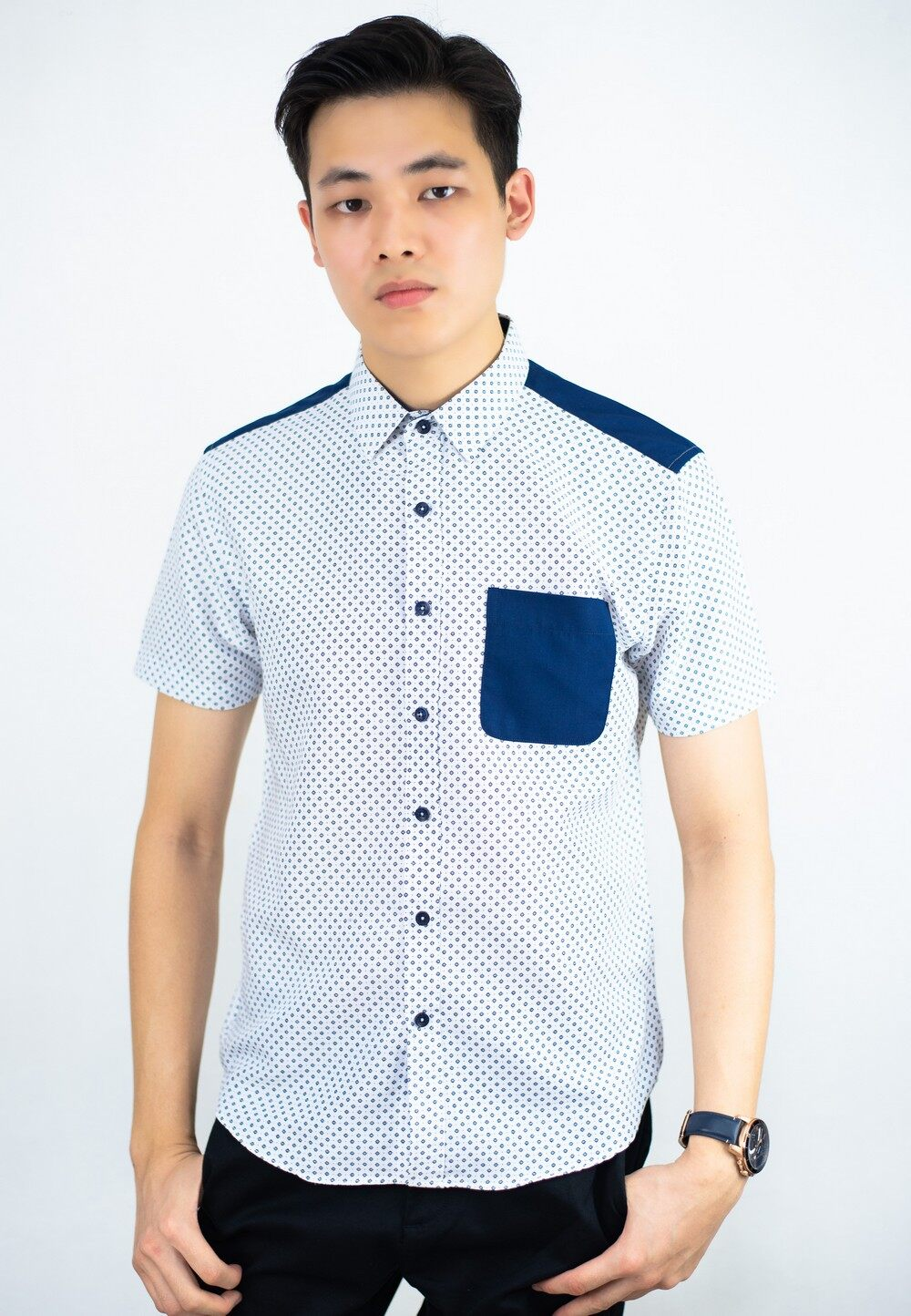 Smart Look Cut and Sew Dot Printing shirt
