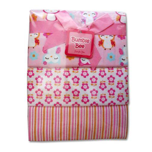 Bumble Bee 3pcs Receiving Blanket (Pink Owl)