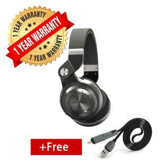 Bluedio T2+ Bluetooth 4.1 Headphones + EDR Wireless Stereo Capabilities + Mic + TF Card Support (Black) + FREE 2 IN 1 Cable (Black)