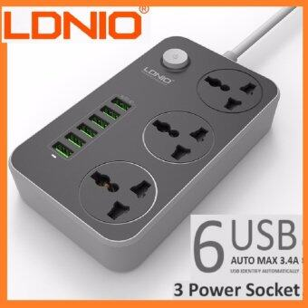 [#ONLINEREVOLUTION] 2017 LDNIO SC3604 3.4A Power Socket with 3 AC + 6 USB Charger Adapter 2500W 10A 1.6 Meter 3 220v