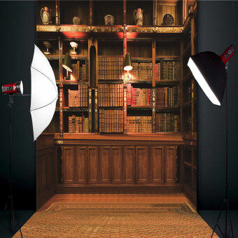 Retro Study Library Books Shelf Photography Photo Background Backdrop Prop 3X5FT