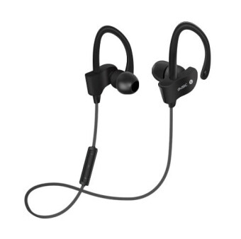 Sports In-Ear Wireless Bluetooth Earphone Stereo Earbuds Headset Bass Earphones with Mic for iPhone 6 Samsung Phone(Black)