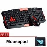 Wireless HK8100 2.4G Desktop Set Wireless Mouse and Wireless Multimedia Keyboard Combo  - Black Red
