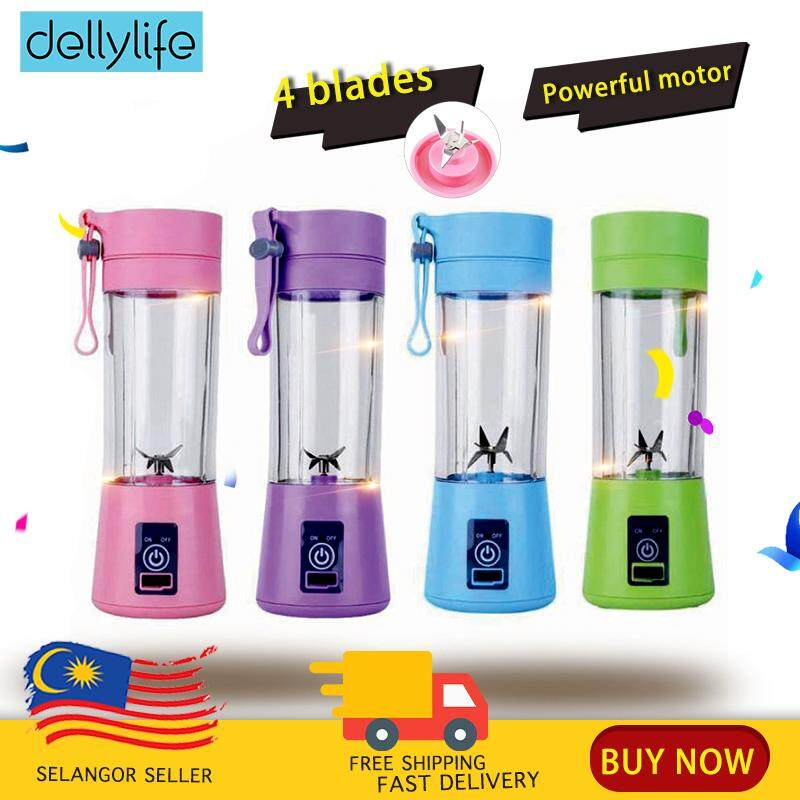 Delly Portable Fruit Juicer Blander Bottle 4 Blades Rechargeable USB Charging for Outdoor office GYM fitness – Blue FJ-BL4