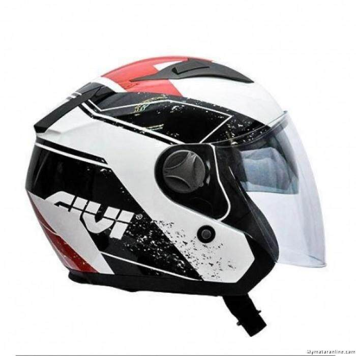 Original GIVI M30.2 Presto Graphic Racing White Motorcycle Helmet