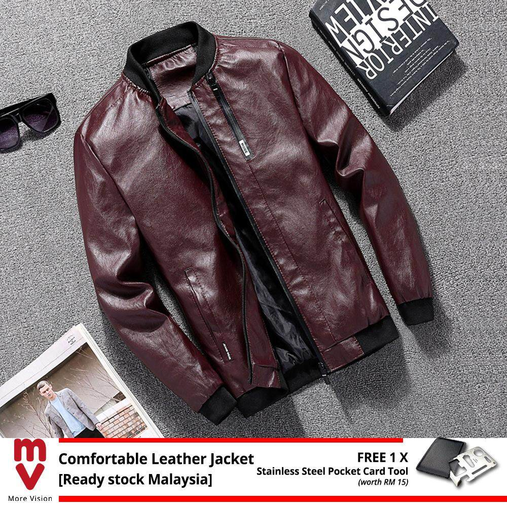 [READY STOCK] Comfortable Leather Jacket Men's Casual New Fashion Style PU for Stylish Man Biker Motorcycle Bomber -MI51914