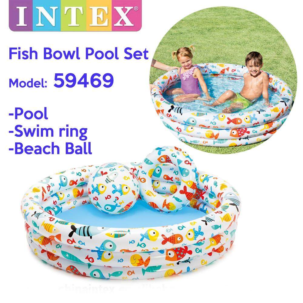INTEX 59469 Fish Bowl Pool 3 Ring Inflatable Baby Bathtub Play Pool Swimming Pool Set for Baby or Kids With Swim Ring+Beach Ball (132 x 28cm) Toys for boys