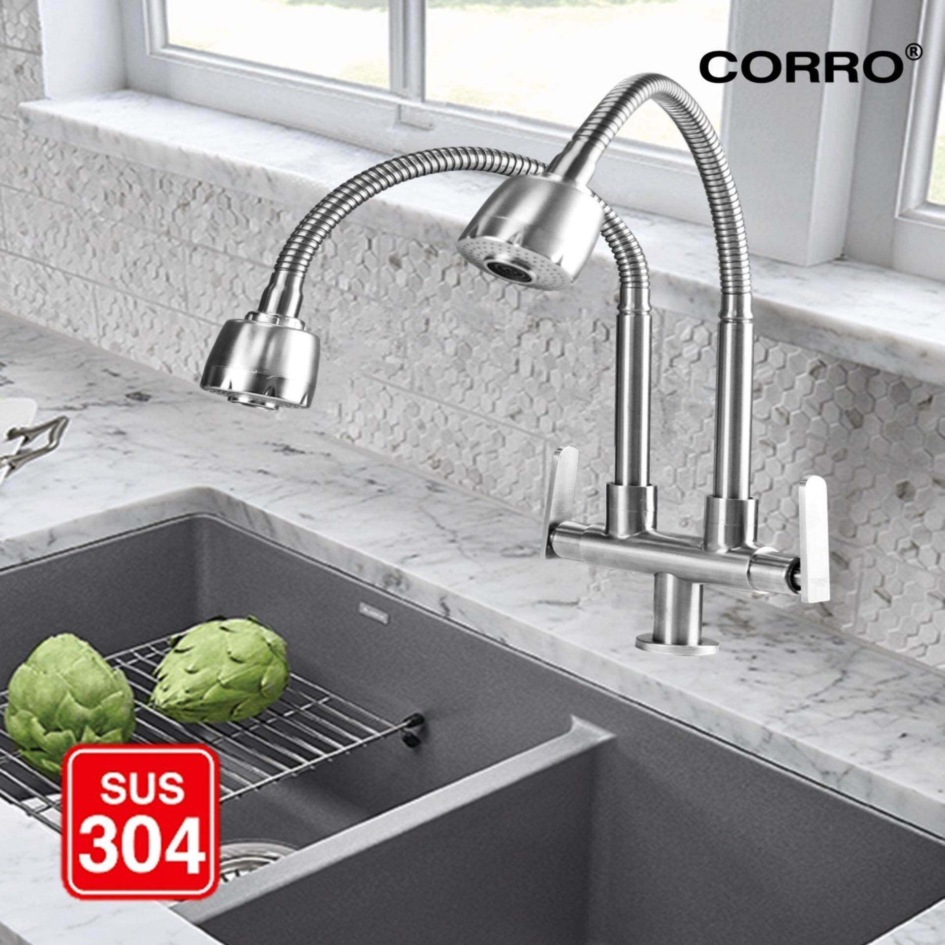 CORRO SUS304 Stainless Steel Twin Hose Flexible Swivel Kitchen Sink Pillar Tap