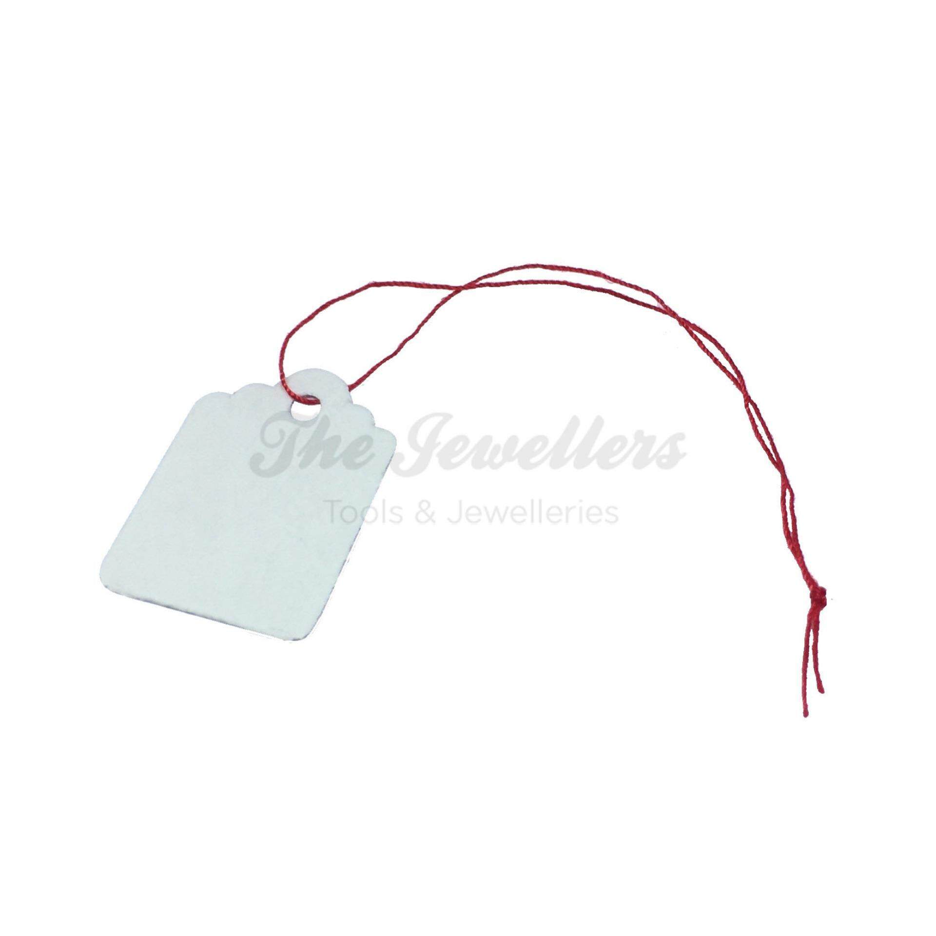 450+-pcs Rectangular Shape White Colour Jewellery Price Tag with Thin Red Thread
