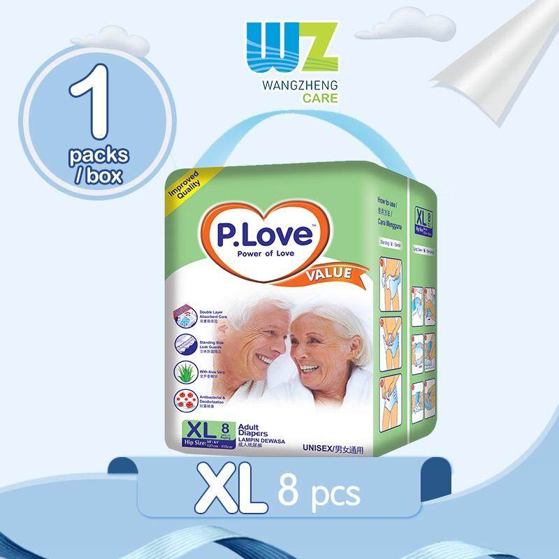 PLove Value Adult Tape Diapers XL8 x 1 Pack [WangZheng CARE]