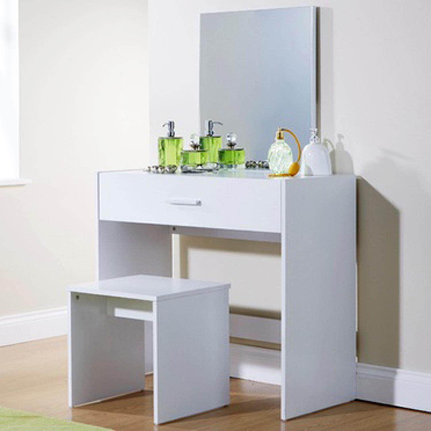 PAMICA DR7402-M Julia Dressing Table with Mirror and Stool (White Oak)