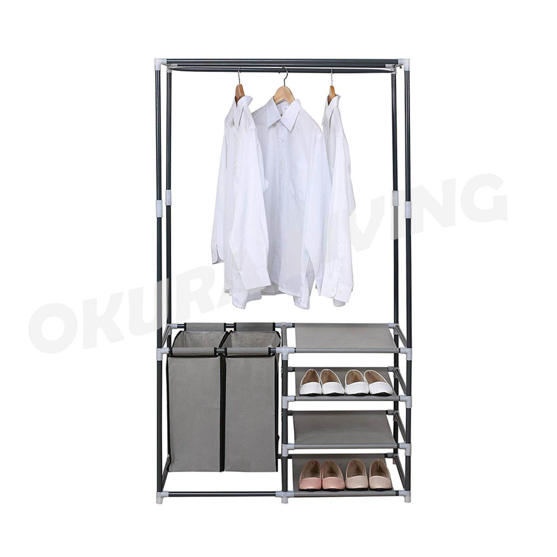OKURA 4 Tiers Shelves Clothing Garment Rack Shoe Organizer with 2 Laundry Bags