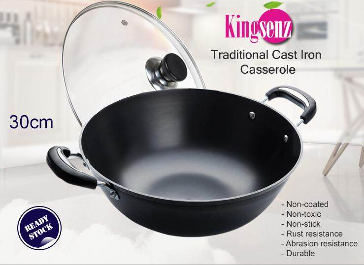 30cm Kingsenz Traditional Cast Iron Casserole - with free stainless-steel spatula and lid (ready stock)