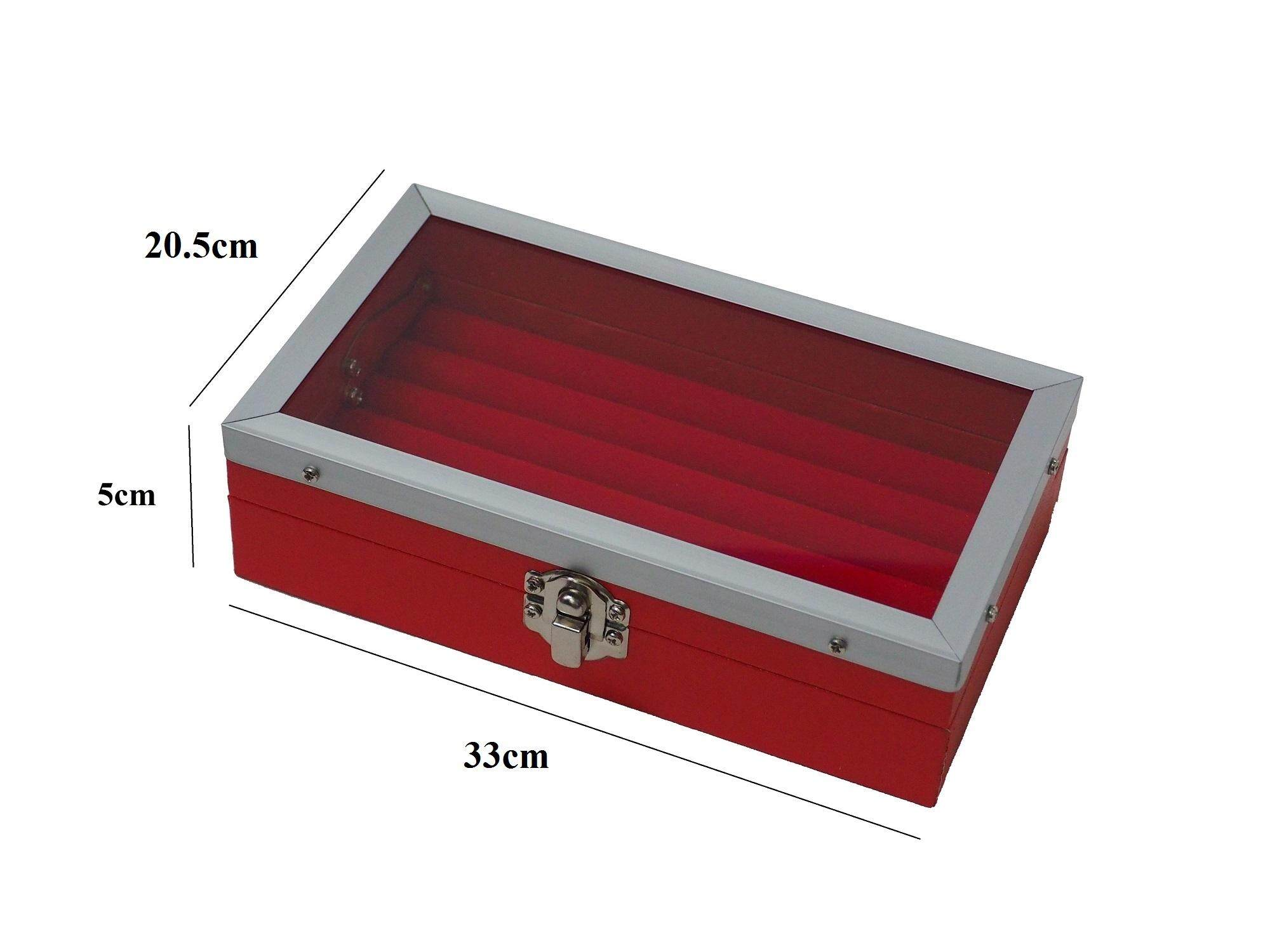 Red Leatherette Ring Box with Glass Cover