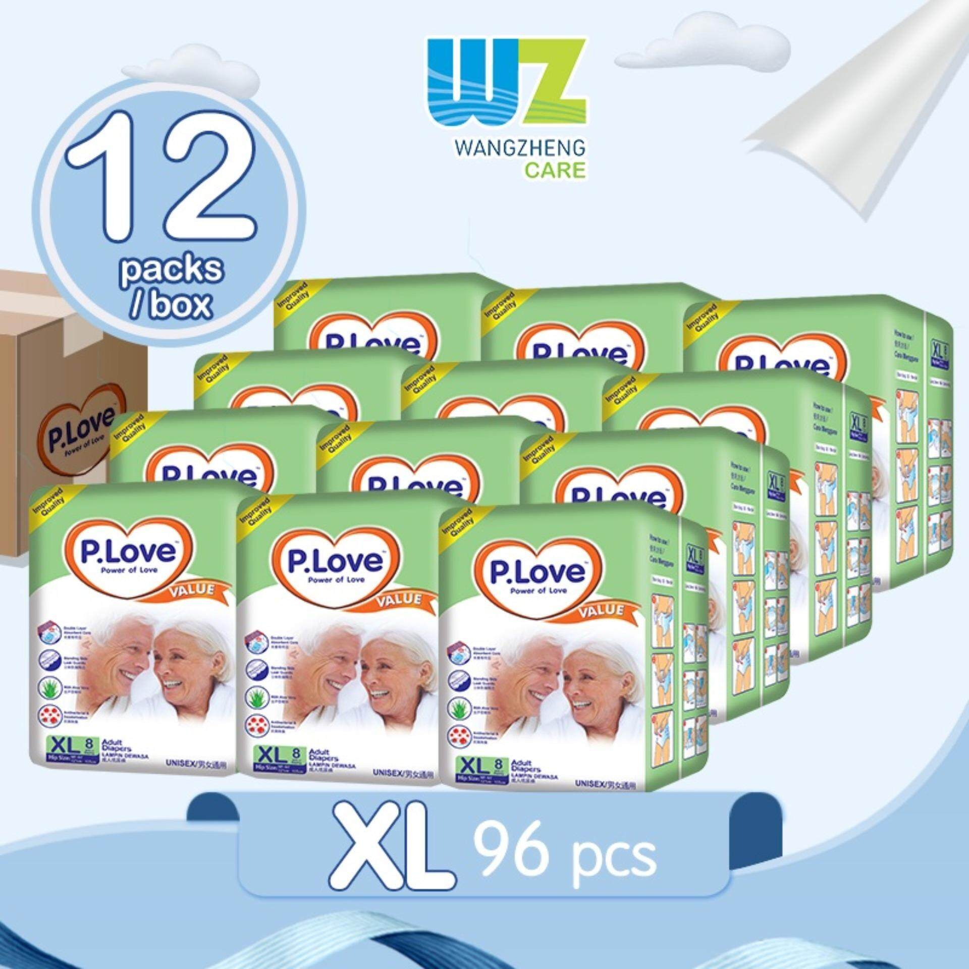 PLove Value Adult Tape Diapers XL8 x 12 Packs [WangZheng CARE]