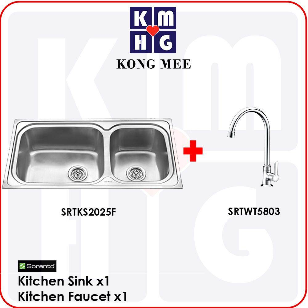 Sorento Italy - Andria Series Double Bowl Top Mount Kitchen Sink (SRTKS2025F) Two Basin Stainless Steel 304 Handmade Low Noise Anti Rust Overmount Drop-in Modern Restaurant Home Kitchen Eating Food Cook Chef Wash Dishes Water Soap Tap Faucet Cleaning Pipe