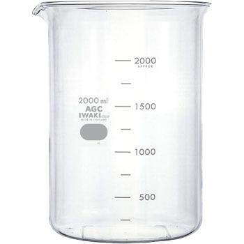 IWAKI 2000ml Glass Beaker Low Form with Sprout Boiling Flask Glassware Laboratory use
