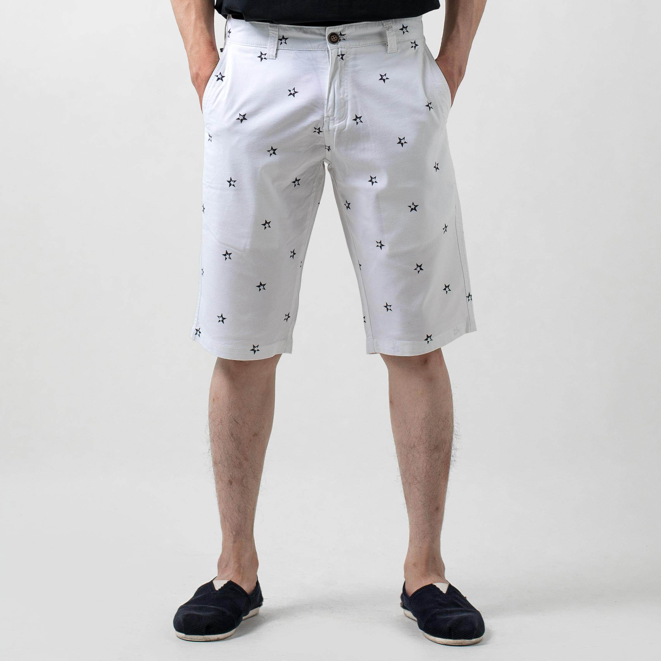 MEN'S CHINO SHORT PANTS WITH STAR PRINTING B49-50482-SF#1