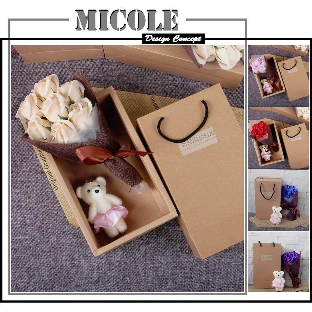 MICOLE G006 7Pcs Creative Simulation Roses Soap Bouquet + Bear