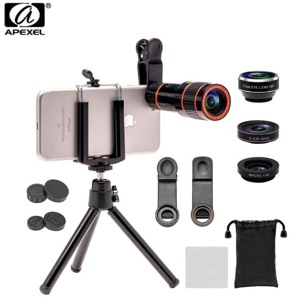 Apexel 4in1 Camera Lens Kit (telescope, fisheye,Wide Angle,Macro, Mini Tripod Phone Holder) for mobile phone (APL-HS12XDG3ZJ) for Apple Iphone Huawei P30 P10 P20 Pro Samsung Vivo Oppo
