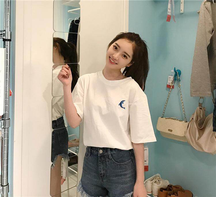 ?PRE-ORDER 21 DAYS?Loose Korean ulzzang clothes retro Hong Kong style short-sleeved t-shirt