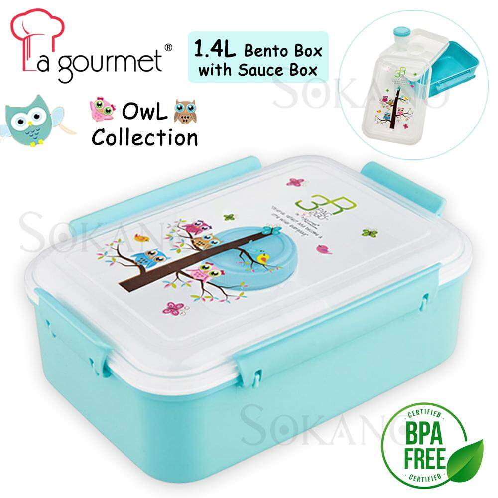 La Gourmet Owl Collection 3R PAC2GO 1.4L Bento with Sauce Box (ZF0919LUNCHBOX)