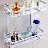 2 Layer Hanging Cosmetic Make Up Shower Rack Storage Aluminium Bathroom Soap Kitchen Shelf Accessories Holder