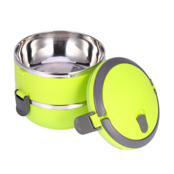 2 Layer Stainless Steel Portable Thermal Insulated Lunch Box FoodContainer(Green)
