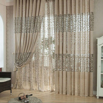 2PCS 1MX2M Elegant Window Door Curtains Sheer Voile Tulle forBedroom Living Room Balcony Kitchen Hotel Decoration JacquardFlower Pattern Sun-shading Curtain Home Textile
