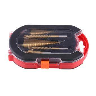 3pcs Step Drill Bit 4-12mm, 4-20mm, 4-32mm and 3pcs Saw Bits 3mm-8mm HSS Drilling Set