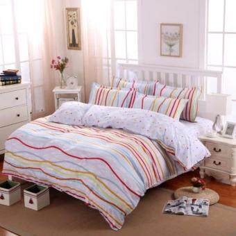 4 in 1 Sylvania Queen Fitted Bedding Set bed protector home Quilt Cover Polyester Sheet Pillowcase Bedsheet - Style C
