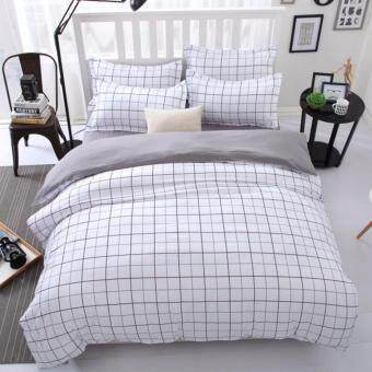 4 in 1 Sylvania Queen Fitted Bedding Set bed protector home Quilt Cover Polyester Sheet Pillowcase Bedsheet - Style D