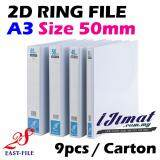 (9 Units) I JIMAT East-File A3 2D PVC Ring File 50mm Filing Thickness A3 Size x 9pcs High Quality White D Ring File