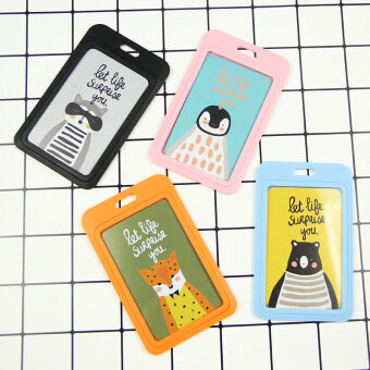 Animal student bus card work card badge holder Sets card lanyard