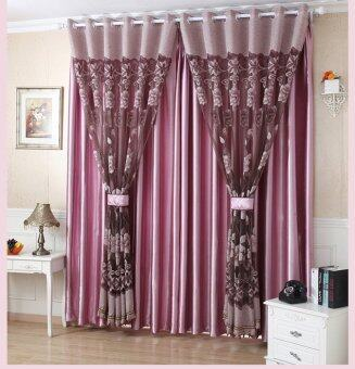 BolehDeals 250x100cm Flower Pattern Jacquard Door Window Tulle Voile Curtain- Wine red