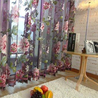 Chic Style Room Floral Tulle Voile Window Curtain (Purple) (100*250CM)