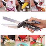 Clever 2 in 1 Stainless Steel Smart Cutter Knife and Chopping Cutting Board Easy Cut Fruits Meat Vegetable Potato Cheese No Mess Scissors
