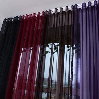 Easybuy Valances Colors Floral Tulle Voile Door Window CurtainDrape Panel Sheer Black
