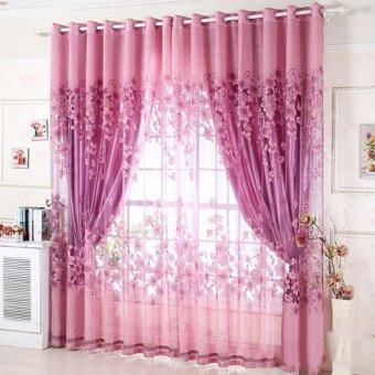 Floral Pattern Tulle Living Room Drape Valances Door Window Curtain Divider With Beads Purple