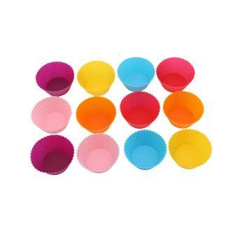 HengSong 12 pcs Round Edge Curling Silicone Chocolate Baking SmallCake Cupcake Mold Muffin Mug Baking Cup(Multicolor)